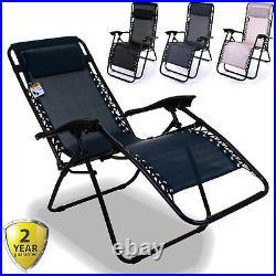 Reclining Sun Lounger Zero Gravity Textoline Outdoor Garden Furniture Bed Relax