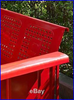 Red 3 Person Metal Patio Glider Bench Outdoor Home Seating Furniture Garden