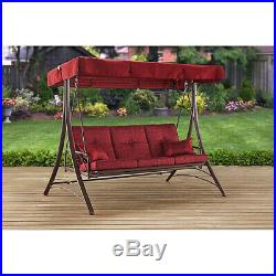 Red 3-Seat Canopy Porch Swing Bed Fully Recline Outdoor Patio Garden Bench Chair
