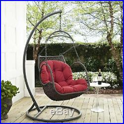 Red Cushion Resin Wicker Hanging Swing Chair & Metal Stand Outdoor Furniture