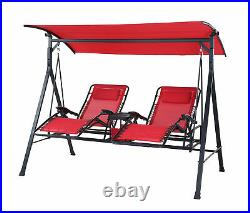 Red Zero Gravity Outdoor Reclining Swing Big (350Lbs) and Tall Canopy Adjustable