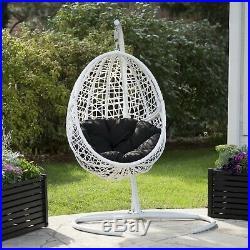 Resin Wicker Blanca Hanging Egg Chair Outdoor Patio Cushion Swing Furniture Seat