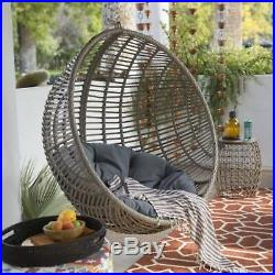 Resin Wicker Hanging Egg Chair Outdoor Porch Swing Cushion Steel Stand Garden