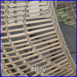 Resin Wicker Hanging Egg Chair with Cushion and Steel Stand, Outdoor Porch Swing