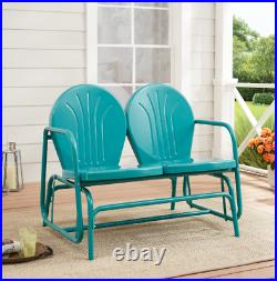 Retro Blue Outdoor Love Seat 2 Person Metal Patio Porch Garden Glider Bench