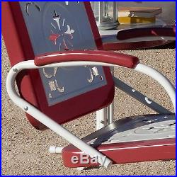 Retro Metal Lawn Chairs Armchair Red Outdoor Vintage Patio Garden Poolside S