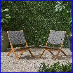 Riley Outdoor Acacia Wood Foldable Chairs (Set of 2), Brown Patina and Gray Stra