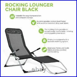 Rocking Gravity Textoline Folding Sun Lounger Armrest Recliner Garden Bed Deck