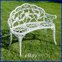 Rose Style Love Seat Bench White Cast Iron Antique Designed Outdoor Patio Porch