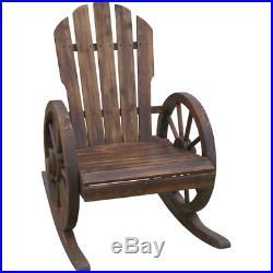 Round Rocking Chair Wagon Wheel Old Fashioned Wood Outdoor Patio Porch Deck Yard