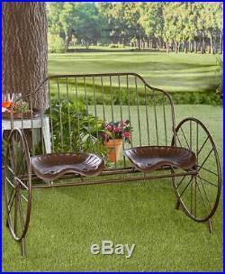 Rustic Metal Farmhouse Porch Farmers Tractor Seat Bench Outdoor Yard Patio Decor