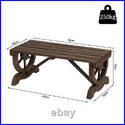 Rustic Wooden Bench Wheel-Shaped Legs Garden Chair Outdoor Park Seat Brown