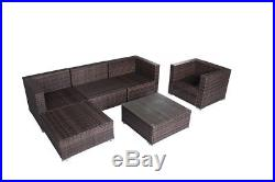 SUNLIT 6PC Rattan Sectional Set Wicker Sofa Chair Ottoman Table Outdoor Patio