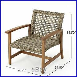 Savannah Outdoor Mid Century Acacia Wood Frame Wicker Club Chairs (Set of 2)