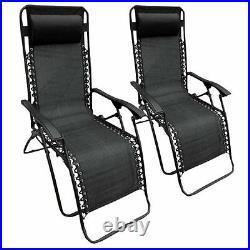 Set Of 2 Textoline Reclining Folding Chair Garden Patio Beach Sun Lounger Chairs