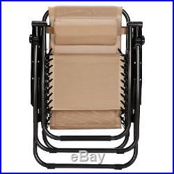 Set Of 2 Zero Gravity Chairs Adjustable Recliner Folding Lounge Patio withTray Tan