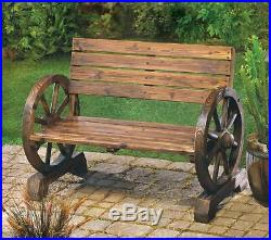 Set Rustic Wagon Wheel Design Wood Bench Chair And Planter Patio Porch Garden