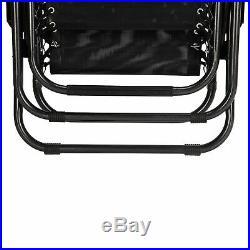 Set of 2 Adjustable Zero Gravity Lounge Beach Chairs Recliner Patio Pool Black