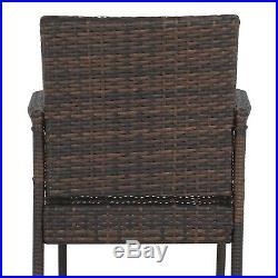Set of 2 Brown Wicker Bar Stool Outdoor Backyard Rattan Chair Patio Furniture