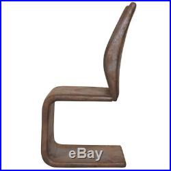 Set of 2 Cantilever Brown Dining Chair Kitchen Seats Backrest Artificial Leather