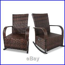 Set of 2 Indoor & Outdoor PE Wicker Rocking Chair Adjustable Reclining chair