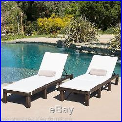 (Set of 2) Multibrown Wicker Adjustable Chaise Lounge Chairs with Ivory Cushions
