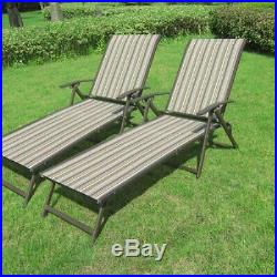 Set of 2 Outdoor Chaise Lounge Chair Patio Furniture Garden Pool Yard Deck Chair