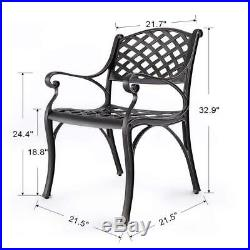 Set of 2 Outdoor Furniture Cast Aluminum Patio Garden Dining Chairs Armchair Set