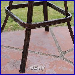 Set of 2 Outdoor Patio Furniture Cast Aluminum Swivel Bar Stools