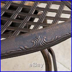 Set of 2 Outdoor Patio Furniture Cast Aluminum Swivel Barstools, Antique Copper