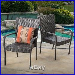 (Set of 2) Outdoor Patio Grey Wicker Stackable Club Chairs
