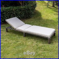 Set of 2 Outdoor Wicker Chaise Patio Lounge Chairs Adjustable Back With Cushions