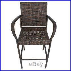 Set of 2 Outdoor Wicker Rattan Bar Stool Set Outdoor Patio Furniture Club Chairs