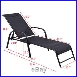 Set of 2 Patio Lounge Chairs Sling Chaise Lounges Recliner Adjustable Back Black