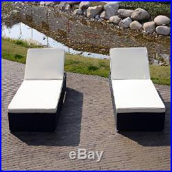 Set of 2 Pool Chaise Lounge Patio Outdoor Rattan Wicker Seat Soft Cushions Sofa