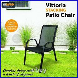 Set of 2 Stacking Garden Patio Chair Outdoor Furniture Armchair Seating BBQ New