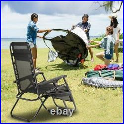 Set of 2 Zero Gravity Chairs Folding Lounger Beach Outdoor Patio Recliner Chair