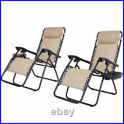 Set of 2 Zero Gravity Recline Chairs Folding Patio Garden Beach Deck Lounge Tray