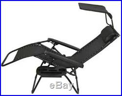 Set of 2 Zero Gravity Sun Loungers Chair Patio Chair with Canopy & Cup Holder