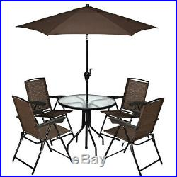 Set of 4 Folding Sling Chairs Steel Armrest Patio Garden Pool Adjustable Back