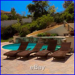 Set of 4 Luxury Outdoor Patio Furniture PE Wicker Chaise Lounge Chairs