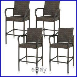 Set of 4 Patio Wicker Barstool Patio Bar Stools Brown Indooor Outdoor Backyard