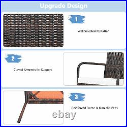 Set of 4 Rattan Wicker Dining Chairs Patio Outdoor with Cushion Armrest