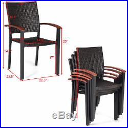Set of 4 Stacking Wicker Rattan Patio Dining Chairs Wood Outdoor Deck Furniture