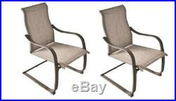 Set of 4 Steel Gray 24 Dining Patio Chair Outdoor Low Maintenance Sling Fabric
