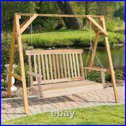 Silla Colgante Columpio De Madera Para 2 Personas 4' Muebles Para Jardin