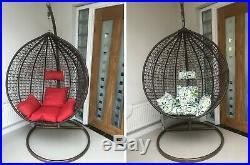 Single Cocoon Outdoor Garden Wicker Rattan Type Hanging Egg Chair Cushions