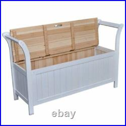 Solid Wood Storage Hallway Bench Garden Furniture Outdoor Seat Rest Chair
