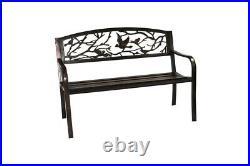 Steel Garden Bench 2 Seater Bird Design Outdoor Furniture Park Bench