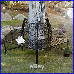 Steel Tree Surround Bench Wrap Around Furniture Decor Metal Garden Backyard Park